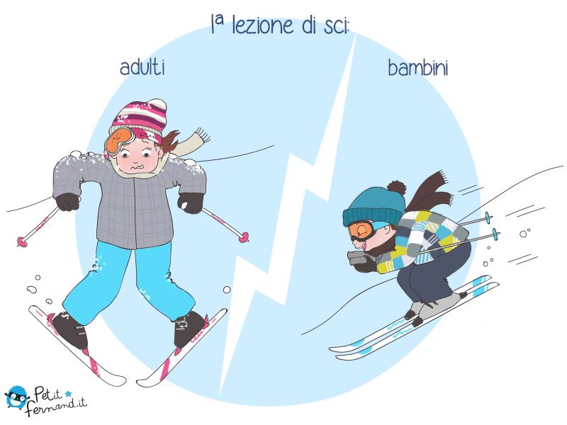 vignetta umoristica lezione di sci