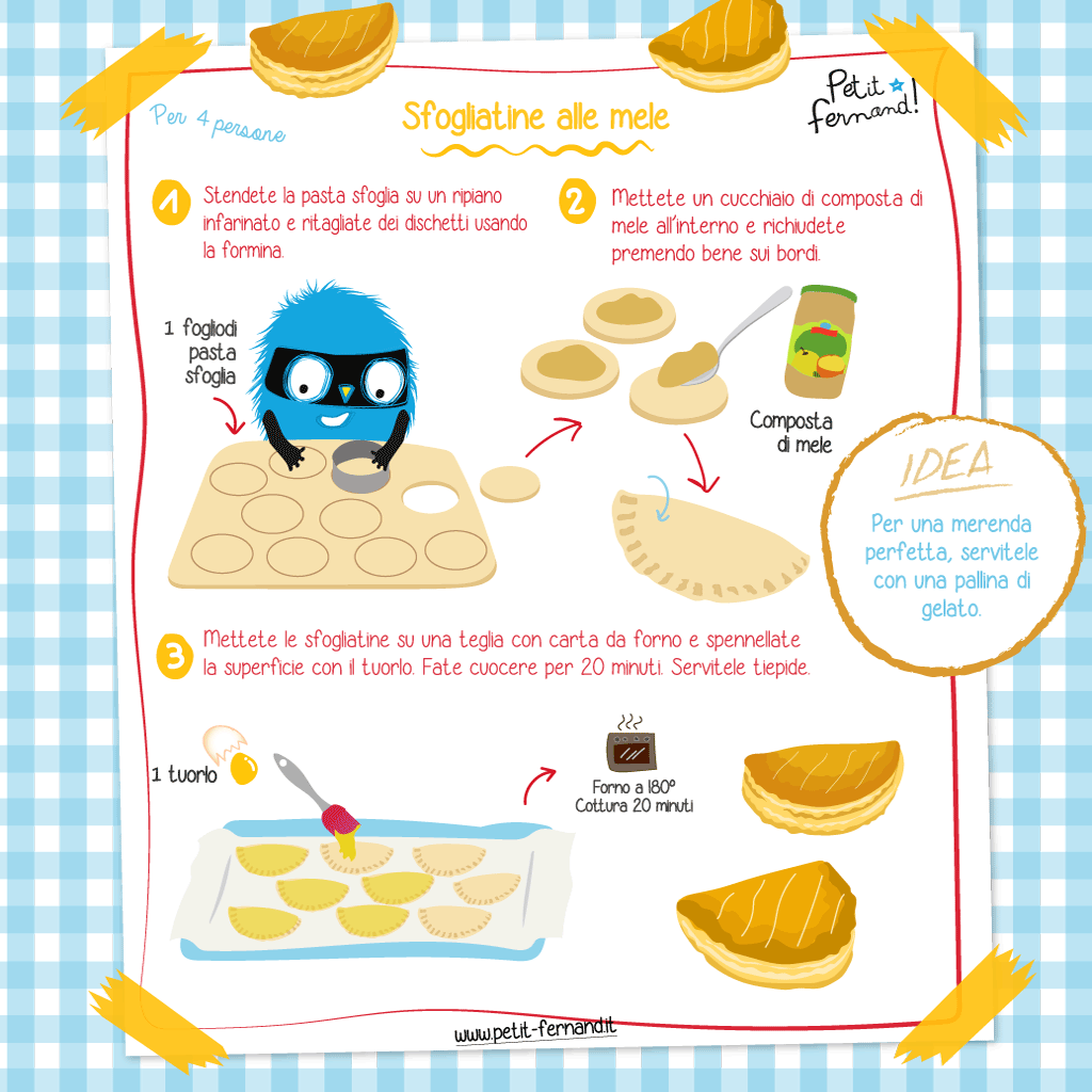 ricetta illustrata sfogliatine alle mele