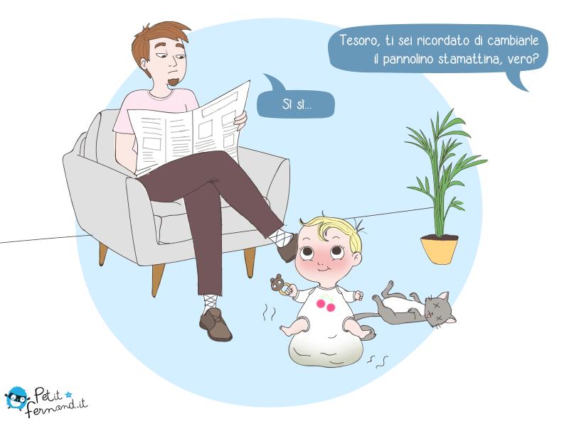 vignetta umoristica: cambiare il pannolino