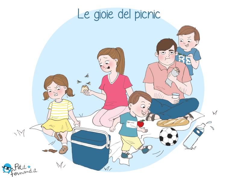 vignetta umoristica picnic in famiglia