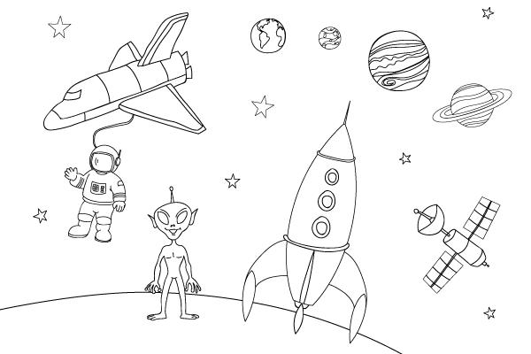 Disegni Da Colorare A Tema Spazio E Astronauti Petit Fernand