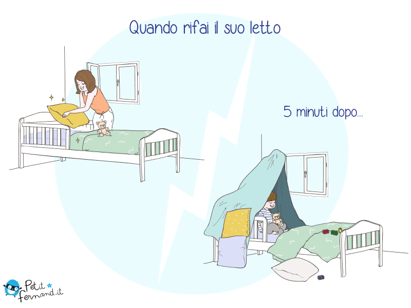 Vignetta Umoristica Genitori Figli Rifare Il Letto Dei Bambini