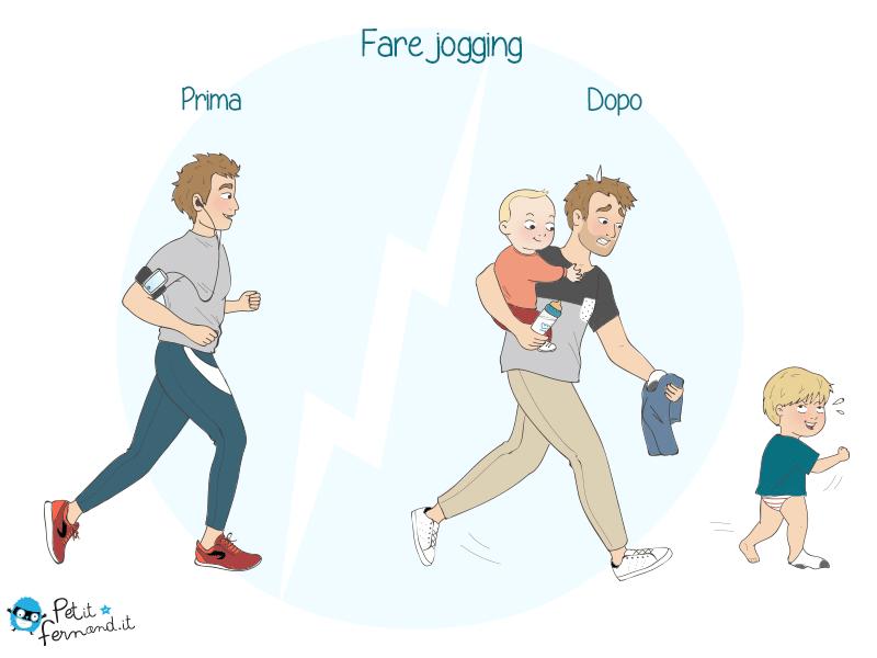 Vignetta divertente sul jogging con o senza bambini