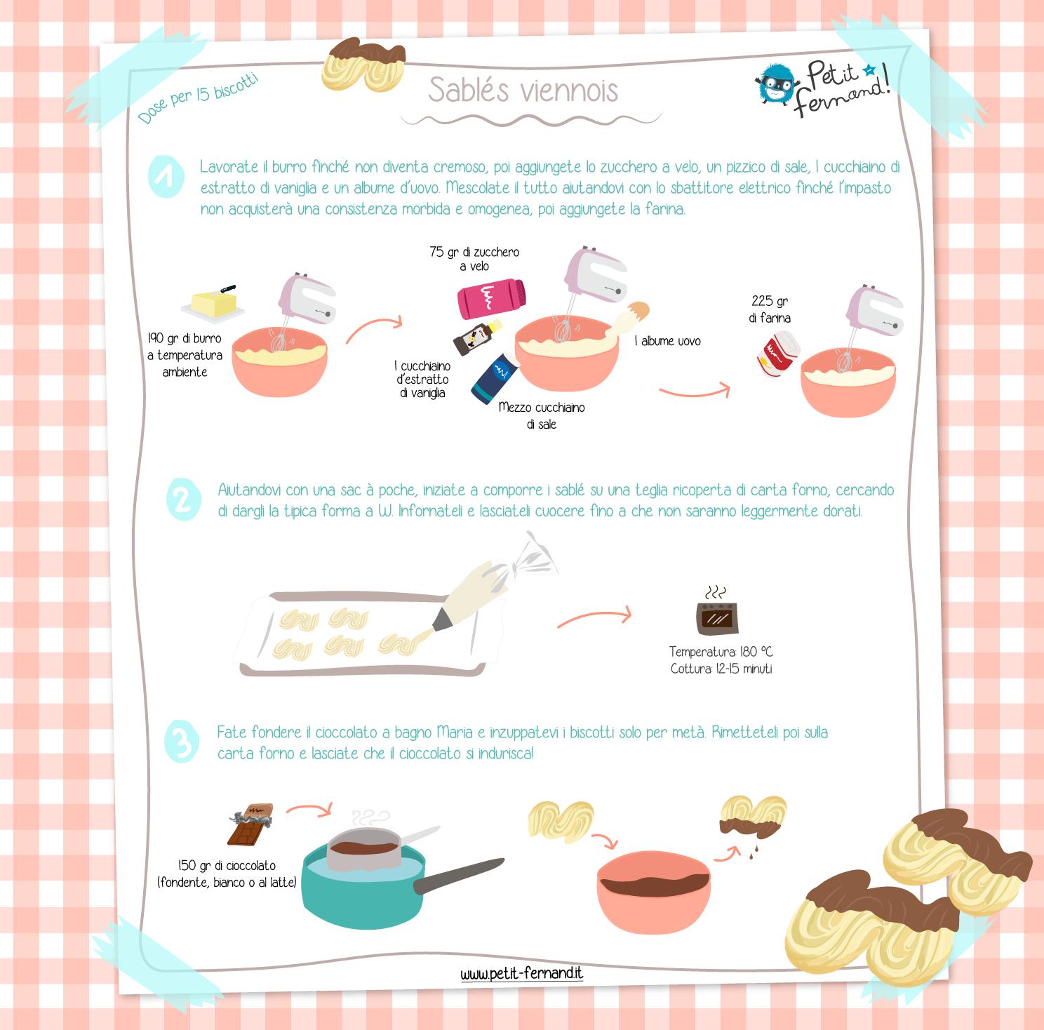 Ricetta per preparare i sablés viennois al cioccolato
