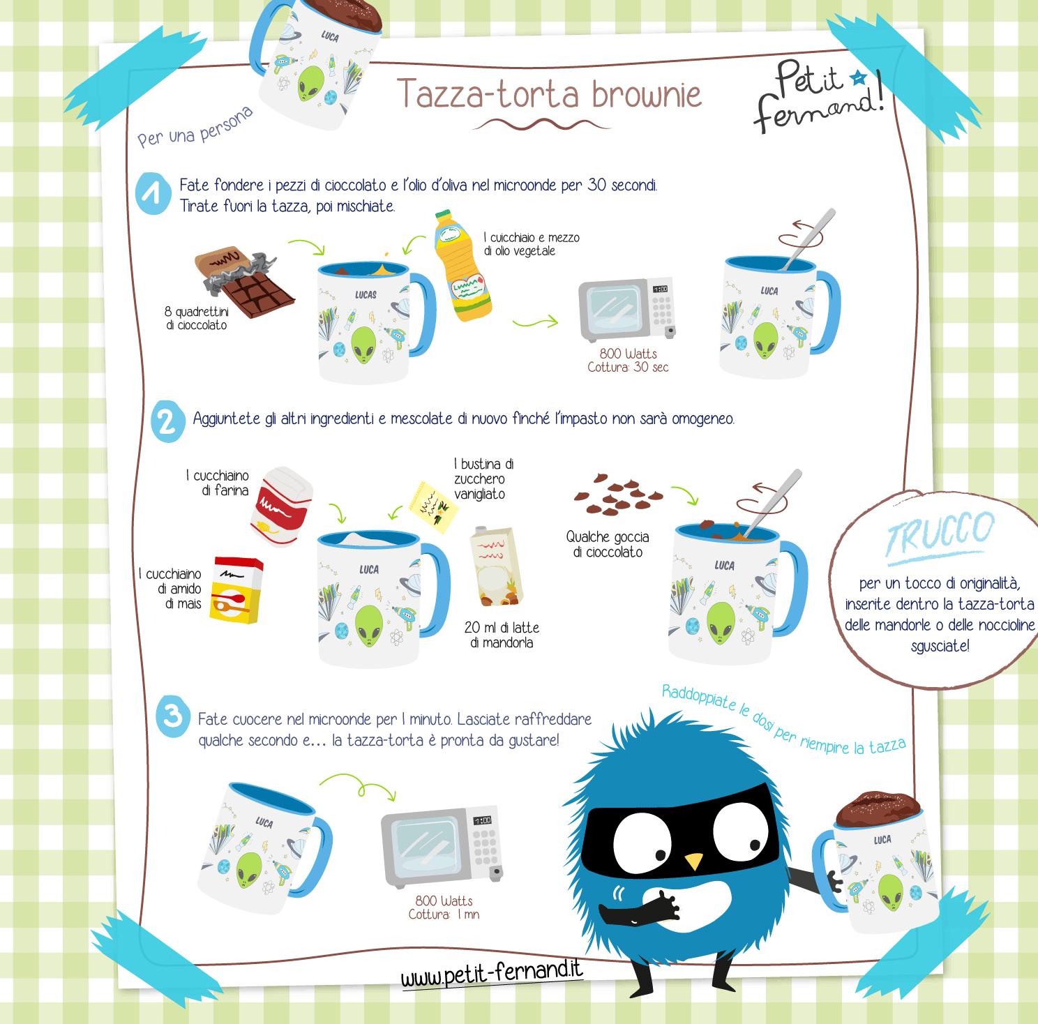 Scoprite la ricetta della tazza-torta gusto brownie