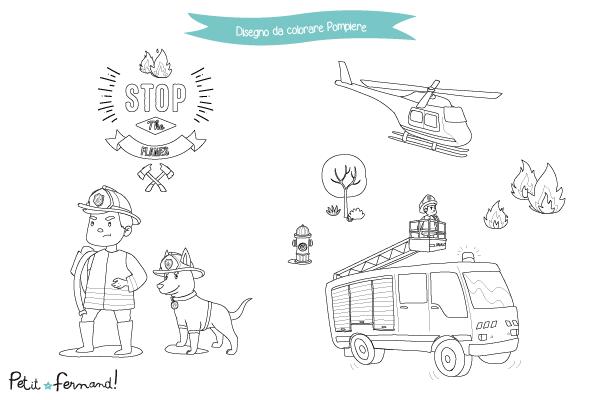 Ecco come occupare le giornate dei vostri bambini durante le giornate estive: dei bellissimi disegni a tema Pompieri.